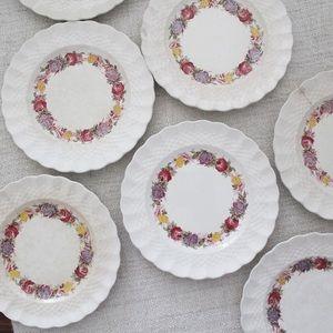 Set of 7 Copeland Spode Rose Briar Plates L1039